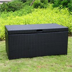 Bowery Hill Wicker Patio Storage Deck Box in Black