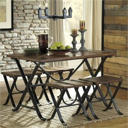 Bowery Hill Signature Design by 5 Piece Rectangular Dining Set in Brown