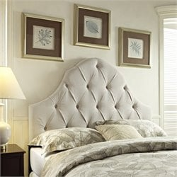 Bowery Hill Round Top Tufted Panel Headboard in Taupe