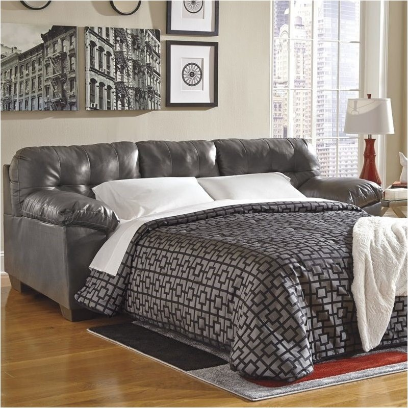 Bowery Hill Leather Queen Sleeper Sofa In Gray Bh 524549