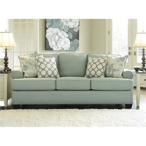 Bowery Hill Fabric Sofa with Cushions in Seafoam
