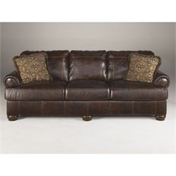 Bowery Hill Leather Sofa in Walnut