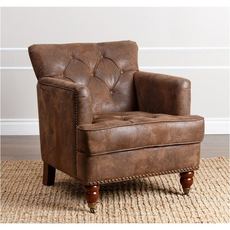 Bowery Hill Tufted Fabric Accent Chair In Antique Brown