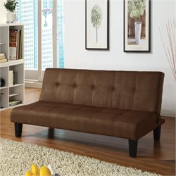 Bowery Hill Microfiber Convertible Sofa in Chocolate