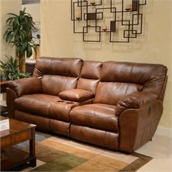 Bowery Hill Leather Reclining Loveseat in Chestnut