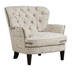 Bowery Hill Upholstered Accent Arm Chair in Paris Script Beige