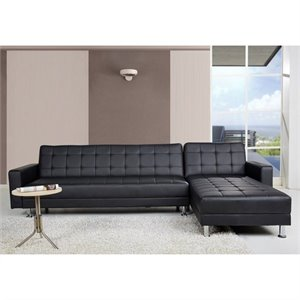 Bowery Hill Faux Leather Convertible Sectional in Black