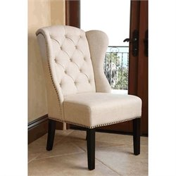 Bowery Hill Tufted Linen Wingback Dining Chair in Cream