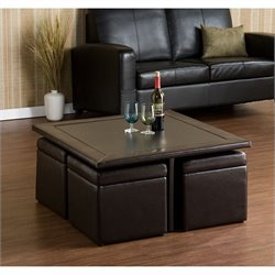 Bowery Hill Storage Table Set in Dark Chocolate Faux Leather