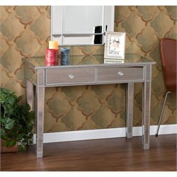Bowery Hill Mirrored 2-Drawer Console Table in Painted Silver Wood Trim