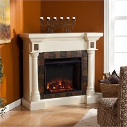 Bowery Hill Slate Convertible Fireplace in Ivory