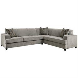 Bowery Hill Fabric Right Facing Sleeper Sectional in Gray