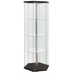 Bowery Hill Hexagon Glass Curio Cabinet in Black