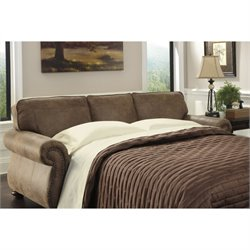 Bowery Hill Faux Leather Queen Size Sleeper Sofa in Earth