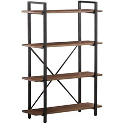 Bowery Hill Industrial Style Metal Bookcase in Black