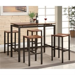 Bowery Hill 5 Piece Counter Bar Table and Stool Set in Black