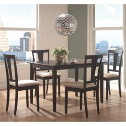 Bowery Hill 5 Piece Dining Set in Black and Beige