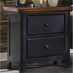 Bowery Hill 2 Drawer Nightstand in Black and Oak