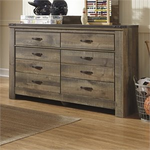 Bowery Hill 6 Drawer Wood Double Dresser in Brown