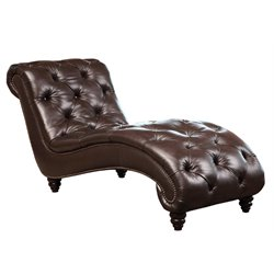 Bowery Hill Leather Chaise Lounge in Brown