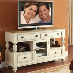 Bowery Hill Two Tone Tall TV Console in Dover White