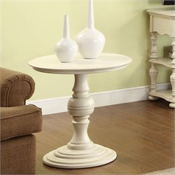 Bowery Hill Round Pedestal End Table in Honeysuckle White