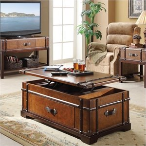 Bowery Hill Steamer Trunk Lift Top Cocktail Table in Aged Cognac Wood