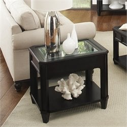 Bowery Hill Glass Top Rectangular End Table in Black Forrest Birch