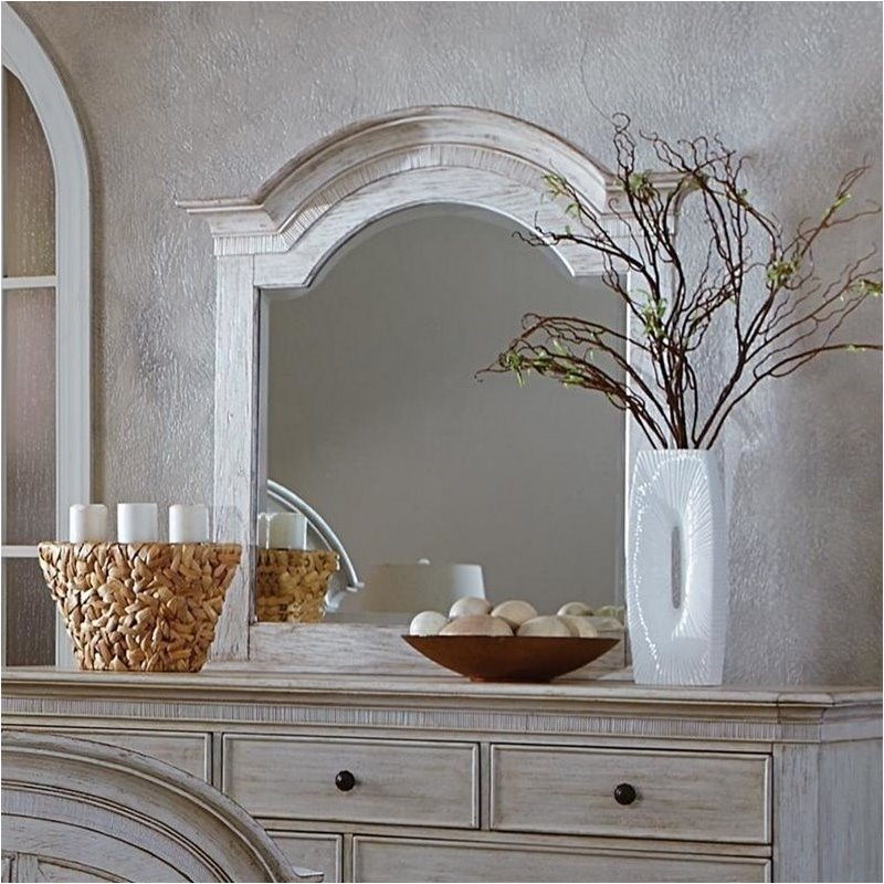 Bowery Hill Arch Mirror in Weathered Worn White