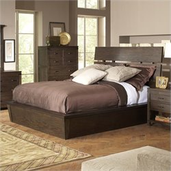 Bowery Hill King Slat Panel Bed in Warm Cocoa