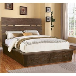 Bowery Hill King Storage Panel Platform Bed in Warm Cocoa