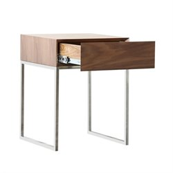 Bowery Hill Square Wood Storage End Table in Brown