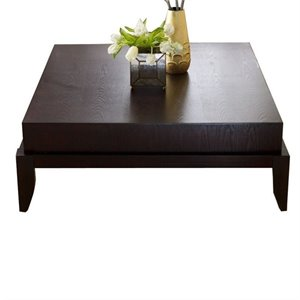 Bowery Hill Square Wood Coffee Table in Mahogany