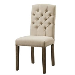 Bowery Hill Fabric Dining Chair in Beige