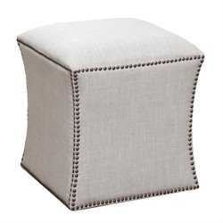 Bowery Hill Square Tufted Nailhead Ottoman in Cream