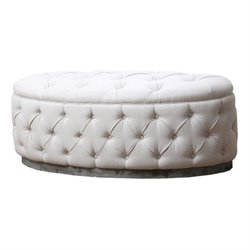 Bowery Hill Oval Tufted Ottoman in Beige
