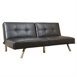 Bowery Hill Leather Convertible Sofa in Black