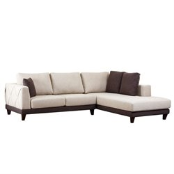 Bowery Hill Fabric Sectional Sofa in Cream