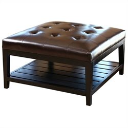 Bowery Hill Square Leather Ottoman Coffee Table in Brown