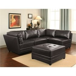 Bowery Hill 5 Piece Faux Leather Sectional in Dark Brown