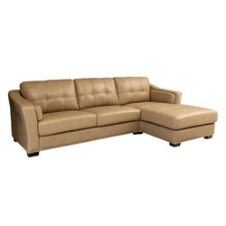 Bowery Hill Leather Sectional in Beige