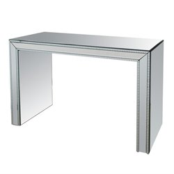 Bowery Hill Studded Mirror Console Table in Silver