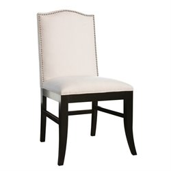 Bowery Hill Linen Nailhead trim Dining Chair in Ivory