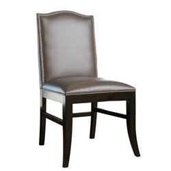 Bowery Hill Leather Nailhead trim Dining Chair in Gray