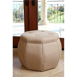 Bowery Hill Tufted Nailhead Trim Ottoman in Beige
