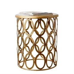 Bowery Hill Metal Round End Table in Gold