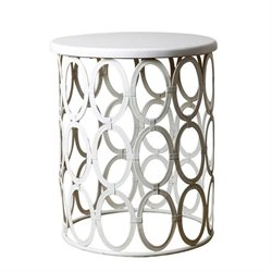 Bowery Hill Metal Round End Table in White