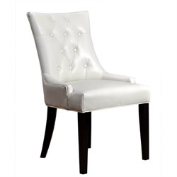 Bowery Hill Leather Dining Chair in Ivory