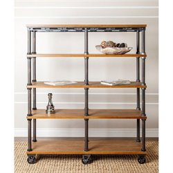 Bowery Hill Industrial Entertainment Bookcase in Beige