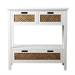 Bowery Hill Console Sofa Table in Antiqued White